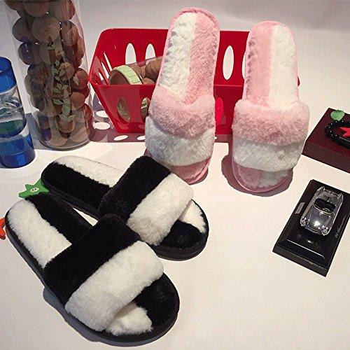 Pantofole Da Donna Indoor, Morbide Spugna Di Peluche Leggero Suola Antiscivolo 014 Bianco E Rosa