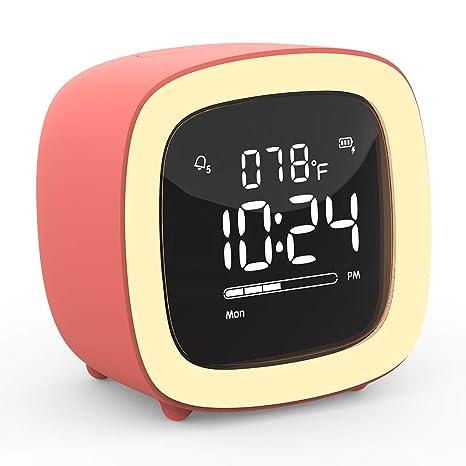 Cute-TV Night Light Alarm Clock for Kids, Girls, Teens, Bedroom, Bedside,  Desk, Digital Alarm Clock with Rechargeable Battery, Sleep Timer, Indoor ...