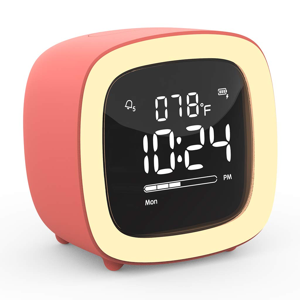 Cute-TV Night Light Alarm Clock for Kids, Girls, Teens, Bedroom, Bedside, Desk, Digital Alarm Clock with Rechargeable Battery, Sleep Timer, Indoor Thermometer - Living Coral (Adapter not Included)