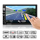 Car Radio Stereo, Catuo Full HD 1080P 7'' IR Remote Control Touch Screen Bluetooth Car MP5 Player Support Steering Wheel Control with Rear View Camer, AM+FM+RDS+MP5 Player Bracket