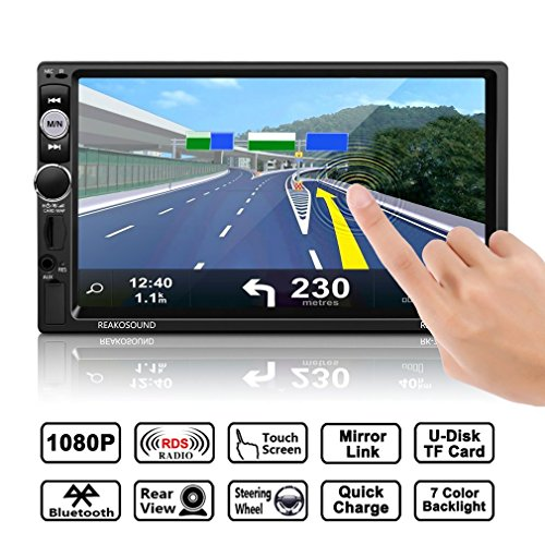 Car Radio Stereo, Catuo Full HD 1080P 7'' IR Remote Control Touch Screen Bluetooth Car MP5 Player Support Steering Wheel Control with Rear View Camer, AM+FM+RDS+MP5 Player Bracket (Support Steering)