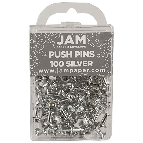 JAM Paper Push Pins - Silver PushPins - 100/Pack