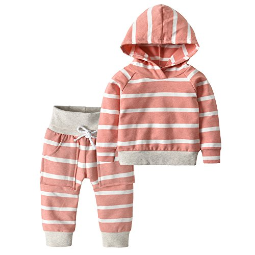Sweatsuit Infant - Toddler Infant Baby Boys Girls Stripe Long Sleeve Hoodie Tops Sweatsuit Pants Outfit Set (100(18-24 Months), Dark Pink Stripe)