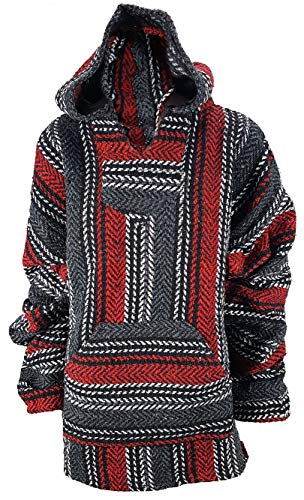Yankee Forge X-Large Baja Shirt - Black & Dark RED Stripe - Woven Hoodie - Soft Brushed Inside - Unisex Pullover