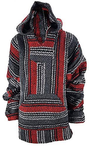 Yankee Forge X-Large Baja Shirt - Black & Dark RED Stripe - Woven Hoodie - Soft Brushed Inside - Unisex ()