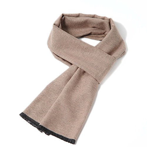 Cuddle Dreams Men's Classic Fall Winter Scarves, 100% Brushed Silk, Luxuriously Soft (Warm Stone (Classic Silk Scarf)