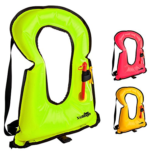 X-Lounger Inflatable Life Jacket Snorkel Vest For Snorkeling, Swimming Water Sports Safety, Portable For Adults Youth ()