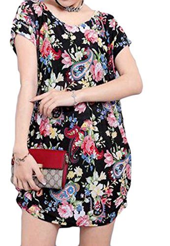 Loose Dresses Neck Short Round Short Black2 Print Womens Cromoncent Sleeve 5F6Wx8Wn