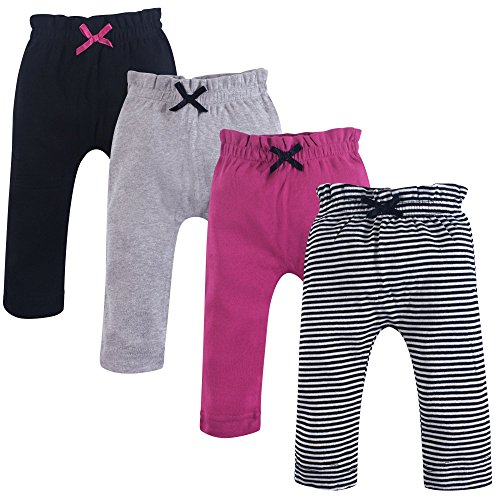 Touched by Nature Baby Organic Cotton Pants, Black and Berry 4Pk, 9-12 Months (12M)