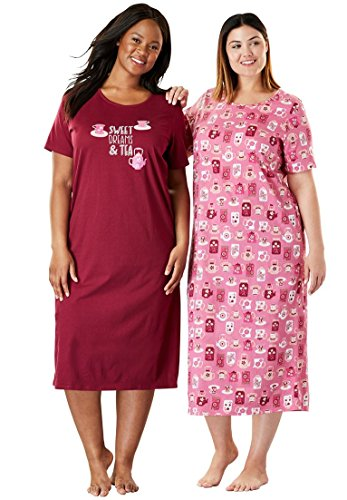 Dreams & Co. Women's Plus Size 2-Pack Long Sleepshirts Pink Raspberry - Length Nightgown Tea