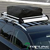 Topline Autopart 50'' Silver Aluminum Roof Rack Basket Car Top Cargo Baggage Tray+Carrier Bag T01