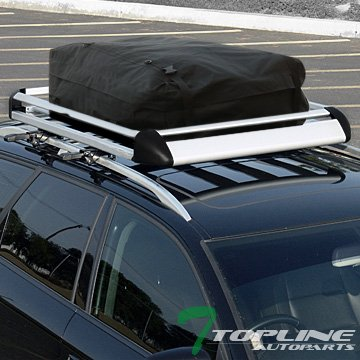 Silver Aluminum Roof Rack Basket Car Top Cargo Baggage Tray+Carrier Bag T01 ()