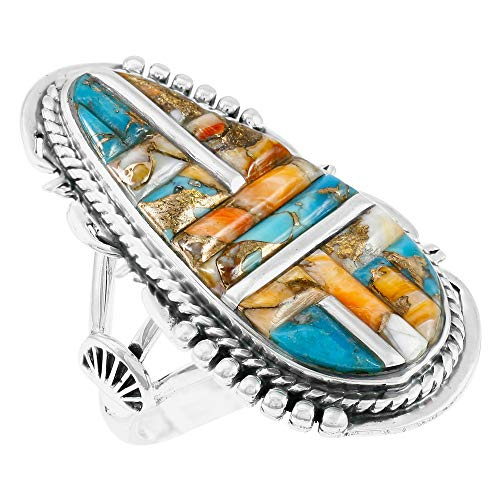 Southwest Style Ring Sterling Silver Genuine Turquoise & Gemstones (SELECT color) (Spiny Turquoise, 6)