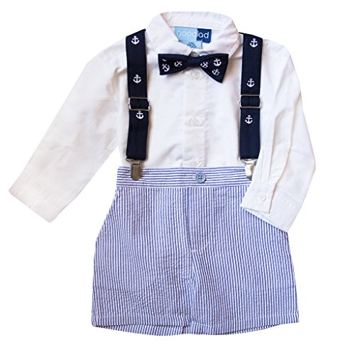 Good Lad Infant Boy Seersucker Short Set with Suspenders and Bowtie (12M, Blue)