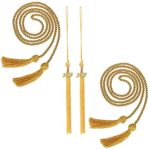 - 2 Pieces Graduation Cords Honor Cord with Tassel, 2 Pieces Graduation Tassel Attached 2019 Pendant for Graduation Ceremonies, (Gold)