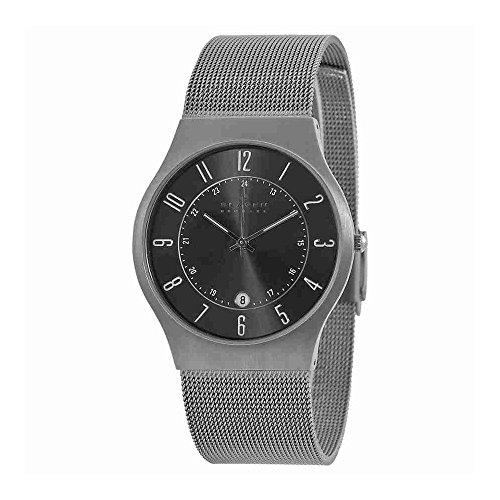 Skagen Titanium Watch - Skagen Watches, Men's Titanium 233XLTTM Grey Mesh Titanium Watch