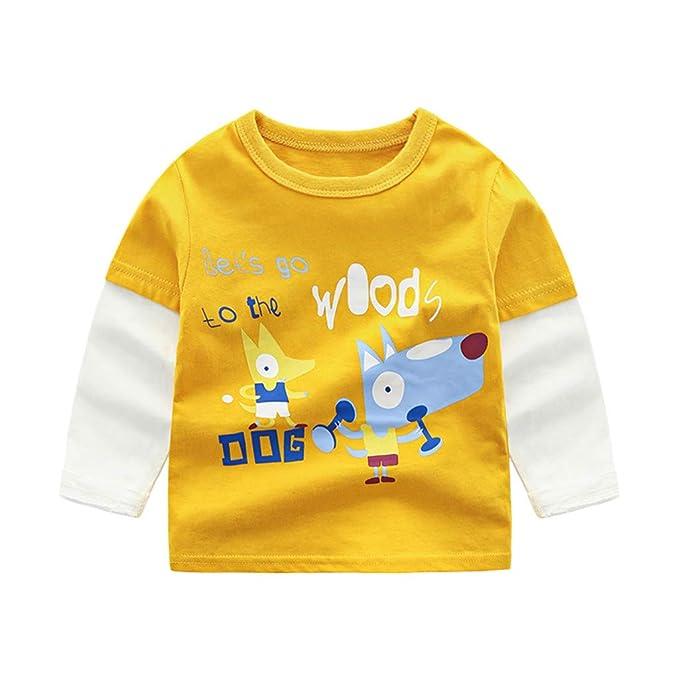 d2fa58c01 Mitlfuny Primavera Verano Niñas Camisetas Ropa de Deporte Bebé Niña Niño  Dibujos Animados Impresión Cosiendo Tops Camisas de Manga Larga Recién  Nacido Niños ...