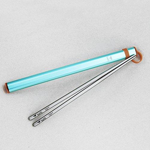 Keith Titanium Ti5822 Portable Square Handle Chopsticks with Aluminum Case - Square Camelback