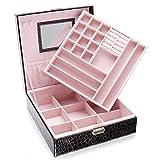 Two-Layer Lint Jewelry Box Makeup Mirror Organizer Display Storage Case with Lock