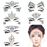 DALIN 6 Sheets Face Gems Rave Festival Jewels Crystals Bindi Rainbow Tears Rhinestone Temporary Tattoo Face Rocks (AB Color Collection 1)