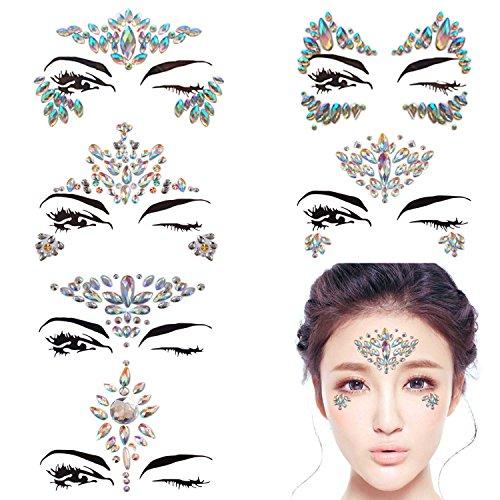 Tattoos Temporary Nail (DALIN 6 Sheets Face Gems Rave Festival Jewels Crystals Bindi Rainbow Tears Rhinestone Temporary Tattoo Face Rocks (AB Color Collection 1))