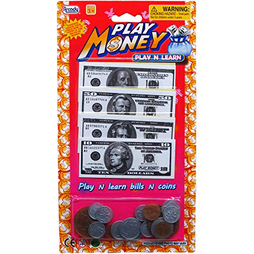 Arcady Assorted Bills & Coins Play Money Set on Blister Card, Case of 72