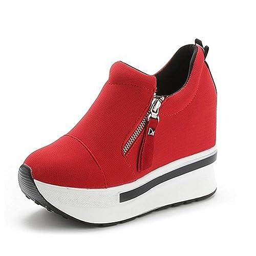 b1c07ab65817c0 Starito Damen Plateau Sneaker mit Keilabsatz Wedges Turnschuhe  Atmungsaktive Freizeitschuhe Keile Knöchel Reißverschluss Schuhe Rot Schwarz