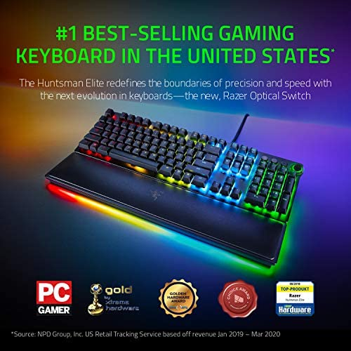 Razer Huntsman Elite Gaming Keyboard: Fastest Keyboard Switches Ever – Clicky Optical Switches – Chroma RGB Lighting – Magnetic Plush Wrist Rest – Dedicated Media Keys & Dial – Classic Black 5185 KLzsqL