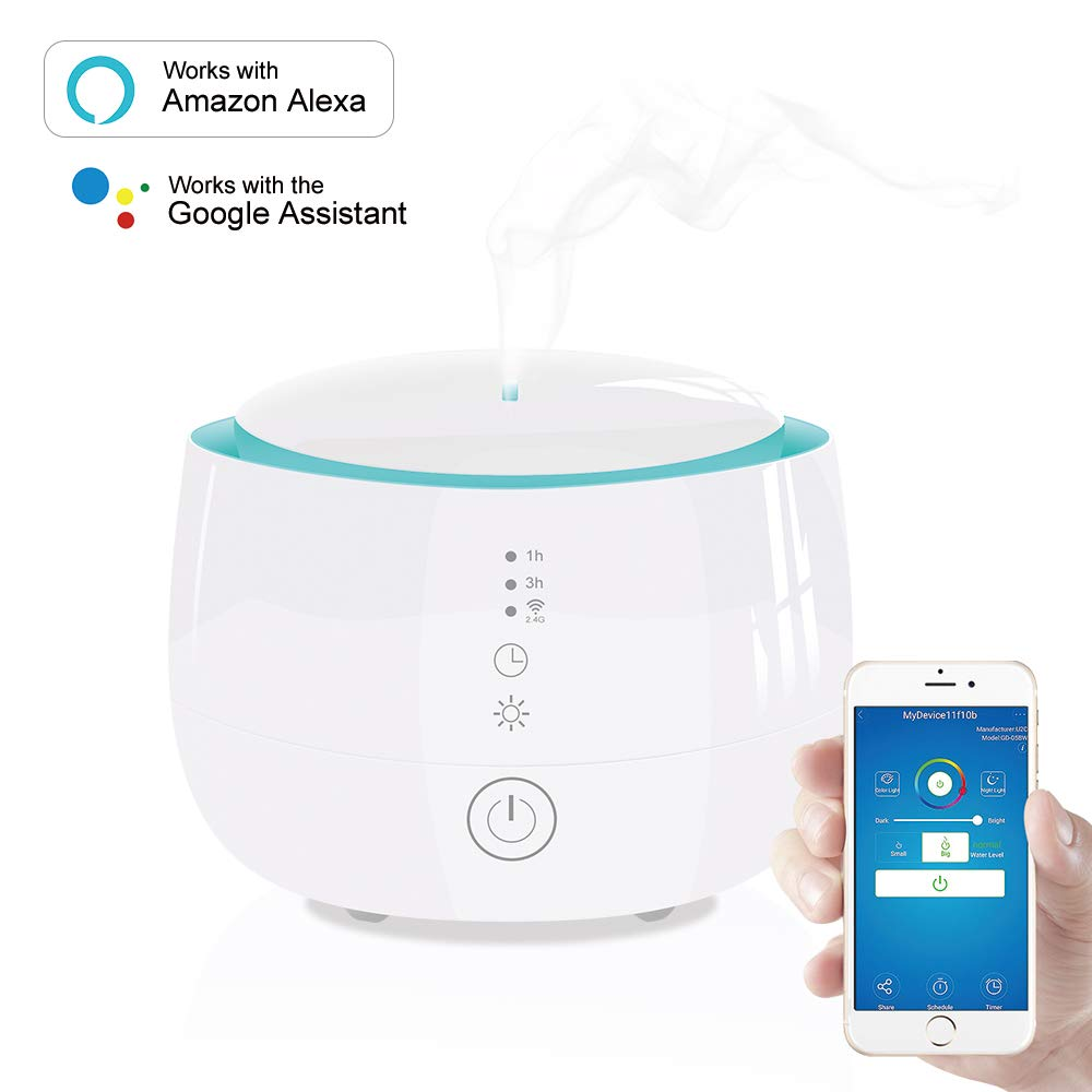 WiFi Essential Oil Diffuser Works with Alexa and Google Home 300ml for Aromatherapy with Adjustable Mist Modes Humidifiers, Ultrasonic Aroma Diffusers with Auto Shut-Off 7 Colorful LED Lights for Baby Room Home Spa (White)