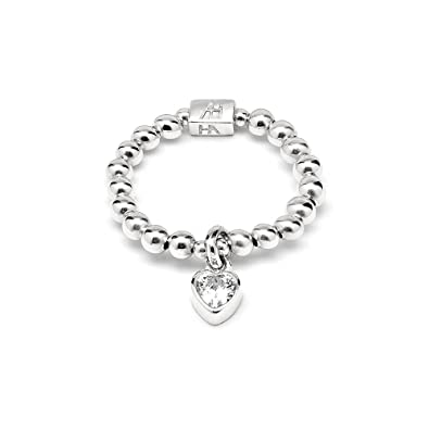 Annie Haak Mini Charm Silver Ring with Tiny Cystal Heart Charm, 925 Sterling Silver Bead Ring