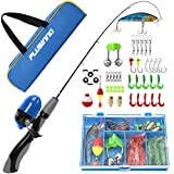 PLUSINNO Kids Fishing Pole,Portable Telescopic Fishing Rod and Reel Full Kits, Spincast Fishing Pole for Kids, Boy, Youth (Grey Handle with Bag, 150CM 59.05IN)