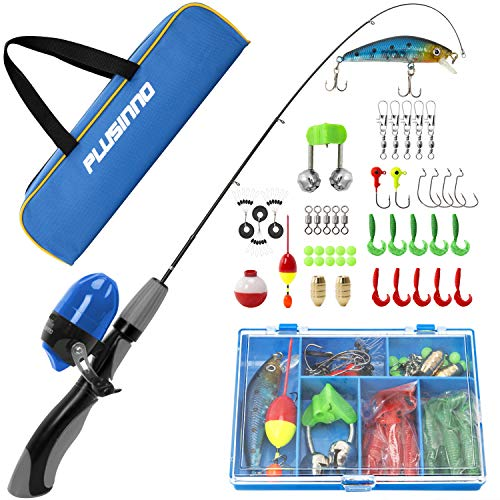 (PLUSINNO Kids Fishing Pole,Portable Telescopic Fishing Rod and Reel Full Kits, Spincast Fishing Pole for Kids, Boy, Youth (Grey Handle with Bag, 150CM 59.05IN))
