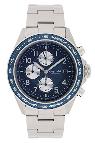 Gigandet Men's Quartz Watch Racetrack Chronograph Analog Stainless Steel Silver Blue G24-004