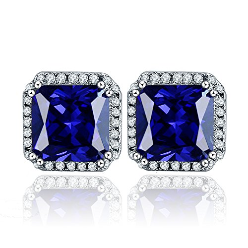 BONLAVIE Solid Sterling Silver 10mm Princess Cut Created Sapphire Cubic Zirconia Halo Stud Earrings Blue