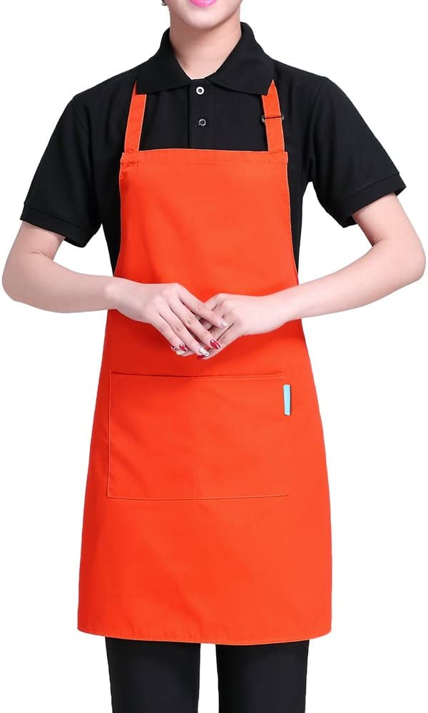 esonmus Cooking Apron Adults Polyester Kitchen Apron with Adjustable Neck Belt and 2 Pockets for Baking Gardening Restaurant BBQ for Men and Women-Orange