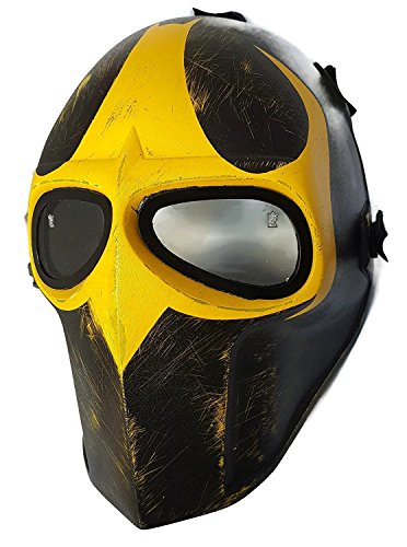 [NEWWAR Battlefield Mask - Dark Knight Nightwing Batman Army of Two Custom Goalie Full Face Mask Protect Mask for Airsoft, Paintball, BB Gun, War Game, Halloween Party, Hunting Wargame, Costume Cosplay Airsoft Mask and Prop Mask and All Military] (Nightwing Halloween Costumes)