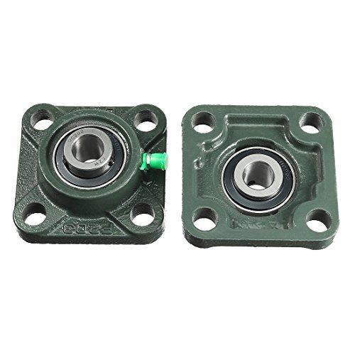 uxcell 2pcs Pillow Block Bearing UCF202 15mm Mounted Bear Square Flange ()