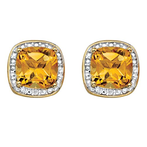 Genuine Yellow Citrine and Diamond Accent 14k Gold-Plated .925 Silver Halo Stud Earrings