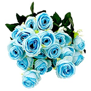 Taruron 6 Piece/Bunch Italian Rose Bouquet Decoration DIY, Wedding Decoration, Party Decoration, Home Display 3 Bunches/Set 13