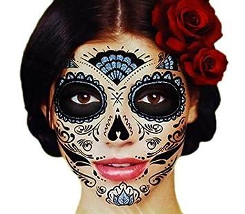 f88980768f760 Amazon.com: Black Glitter Skeleton Day of the Dead Temporary Face ...