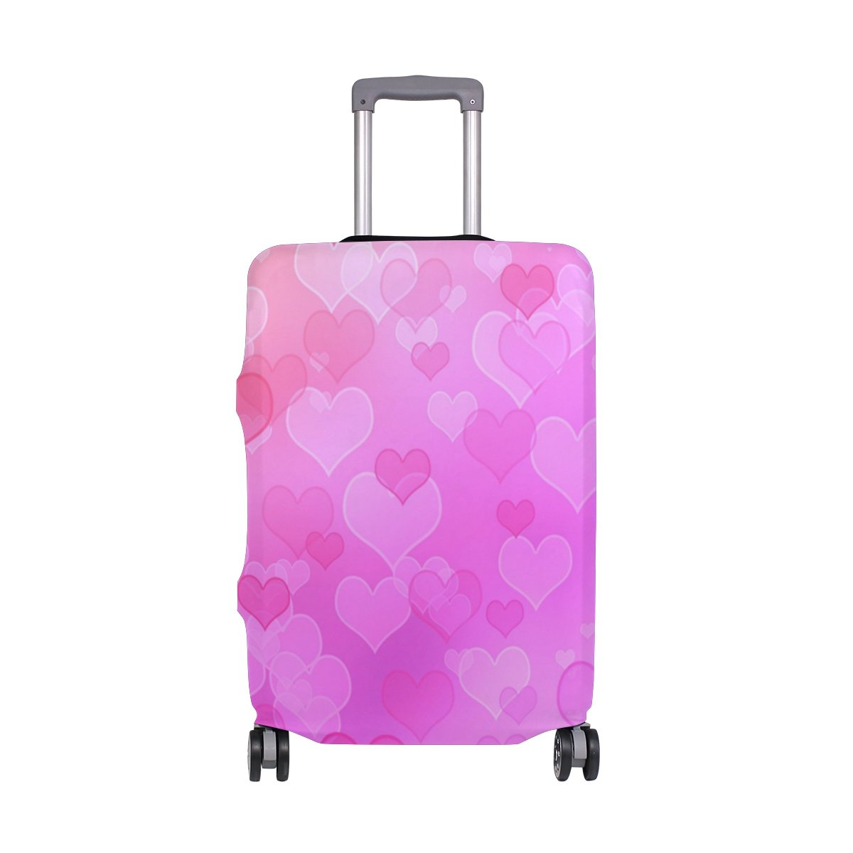 ALAZA Pink Hearts Valentine's Day Wedding Luggage Cover Fits 24-26 Inch Suitcase Spandex Travel Protector M