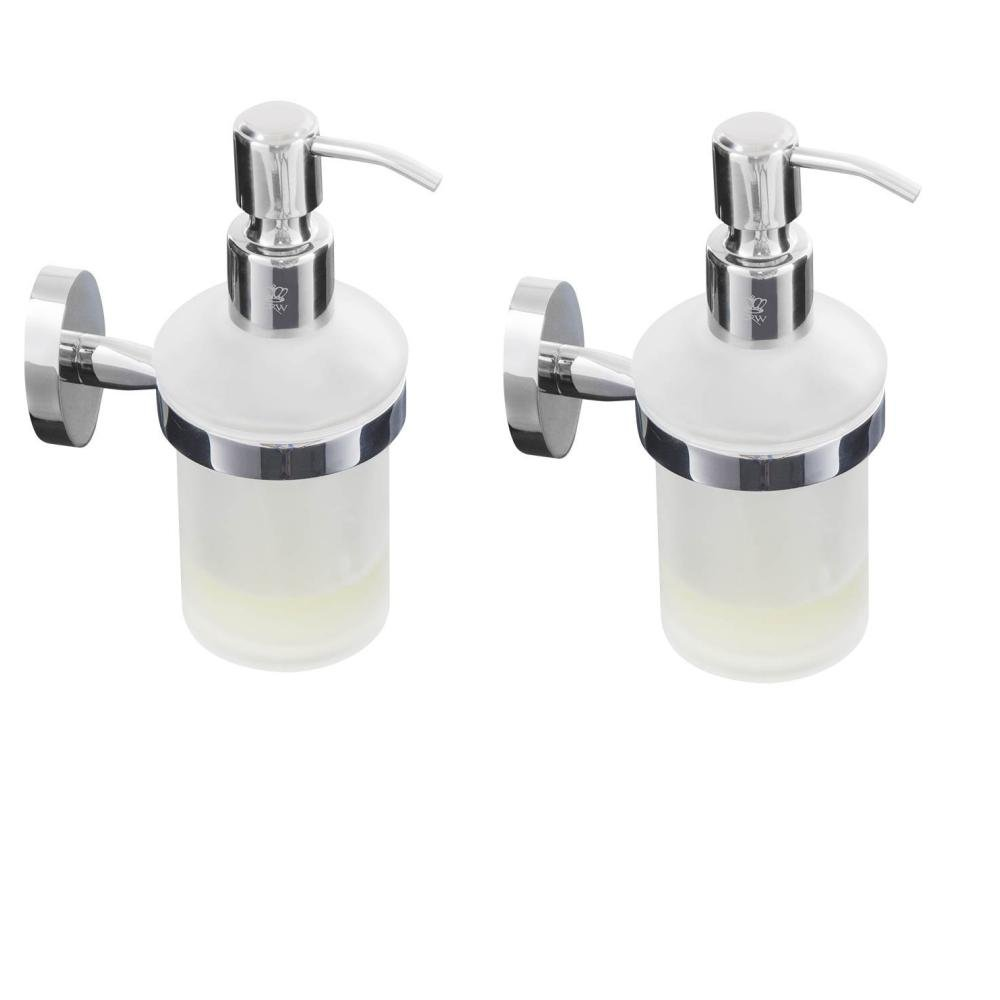 CRW Wall Mount Soap Dispenser Rust Proof Bathroom Liquid Hand Soap Pump 8oz Lotion Refill Glass/Stainless Steel for Kitchen and Bathroom Sinks, Countertops (2 Pack)