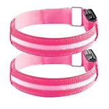 kwmobile 2X LED Safety Bands - USB Rechargeable High Visibility Running Armbands with LED Lights for Cycling Hiking Jogging Biking Outdoor Sports