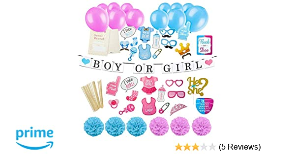 535905eee60a Amazon.com  Gender Reveal Party Supplies Kit - Baby Gender Reveal ...