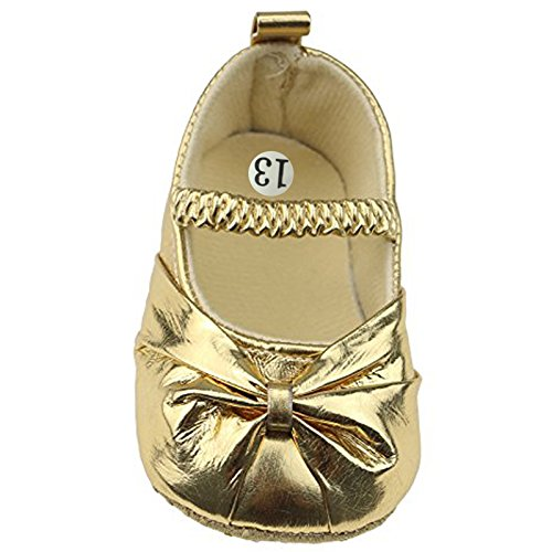 Smallt Baby Girl Soft Sole Pu Toddler Shoes (L=13=9-12 Months, Bling Gold)