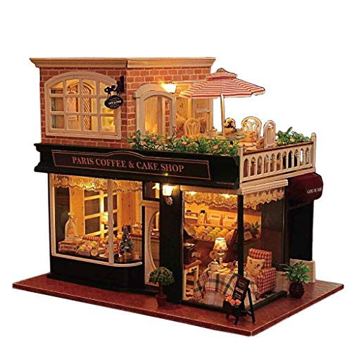 Rylai 3D Puzzles Wooden Handmade Miniature Dollhouse DIY Kit w/ Light - Romantic Cafe Series Dollhouses Accessories Dolls Houses with Furniture & LED & Music Box Best Xmas Gift for -
