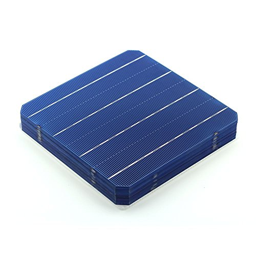 VIKOCELL 10Pcs 156MM 5W Monocrystalline Silicon Solar Cell 6x6 for DIY Solar Panel ()