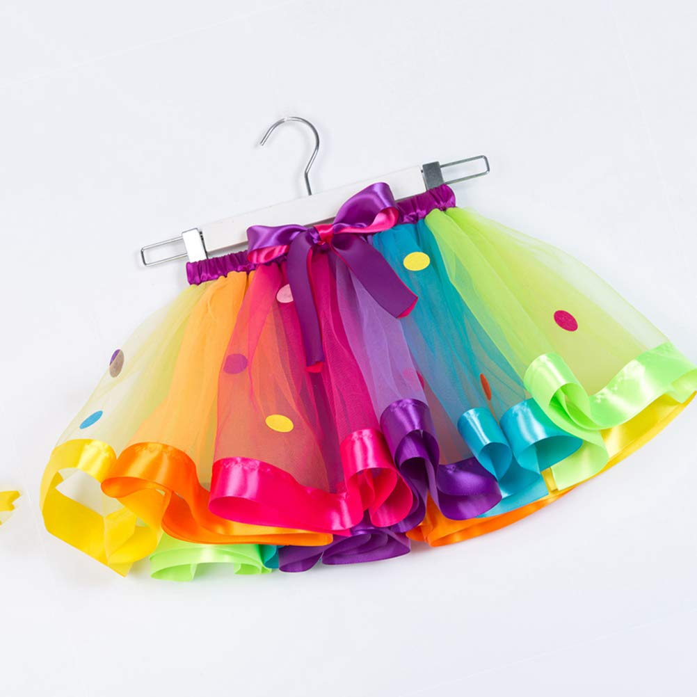 SX-RT077 S FENICAL Girls Elastic Waist Rainbow Tutu Skirt with Big Bowknot Party Dress up Tulle Skirt