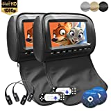 9 inch 1080P Car Headrest DVD Player Video Monitor with Leather Cover Zipper IR Wireless Headphones Games for Kids Road Trips Entertainment System Black Color (Non-Touch Screen, Black)
