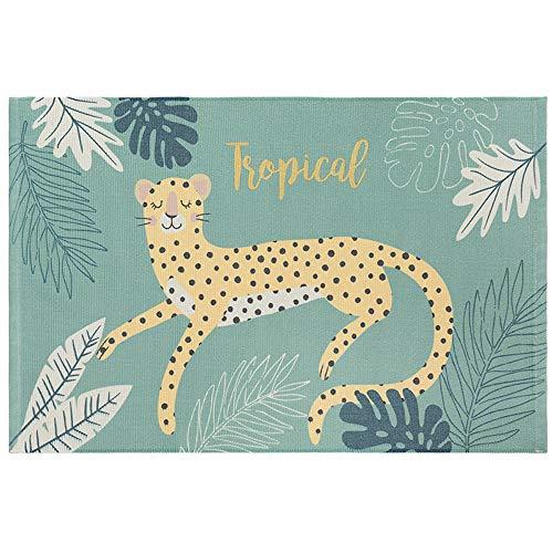 FREELOVE Alfombrillas Tejidas de algodón con Estampado de Flores, Leopard, 2' by 3', 1